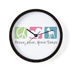 Peace, Love, Great Danes Wall Clock