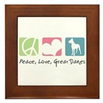 Peace, Love, Great Danes Framed Tile