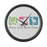 Peace, Love, Great Danes Large Wall Clock