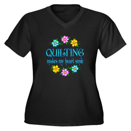 Quilting Smiles Women's Plus Size V-Neck Dark T-Sh