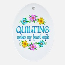 Quilting Smiles Ornament (Oval)
