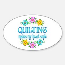 Quilting Smiles Sticker (Oval)