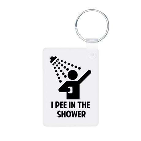 I Pee in the Shower Aluminum Photo Keychain