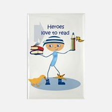 Heroes love to read - Rectangle Magnet