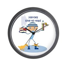 Heroes love to read - Wall Clock