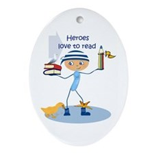 Heroes love to read - Ornament (Oval)