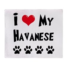 I Love My Havanese Throw Blanket