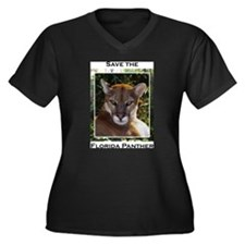 Funny Panther Women's Plus Size V-Neck Dark T-Shirt