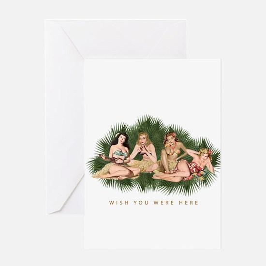 Hula Girls Wishing You Were Here Greeting Card