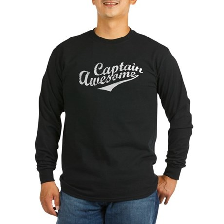 Captain Awesome Long Sleeve Dark T-Shirt