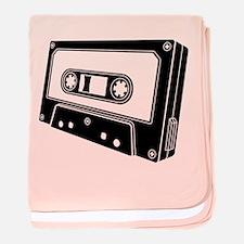 Black & White Cassette Tape baby blanket