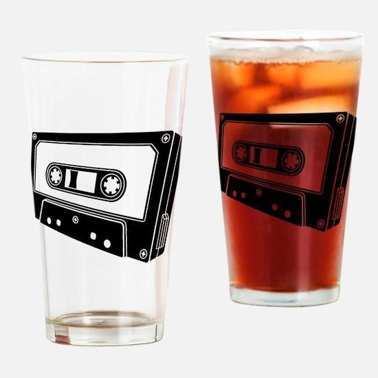 Black & White Cassette Tape Drinking Glass