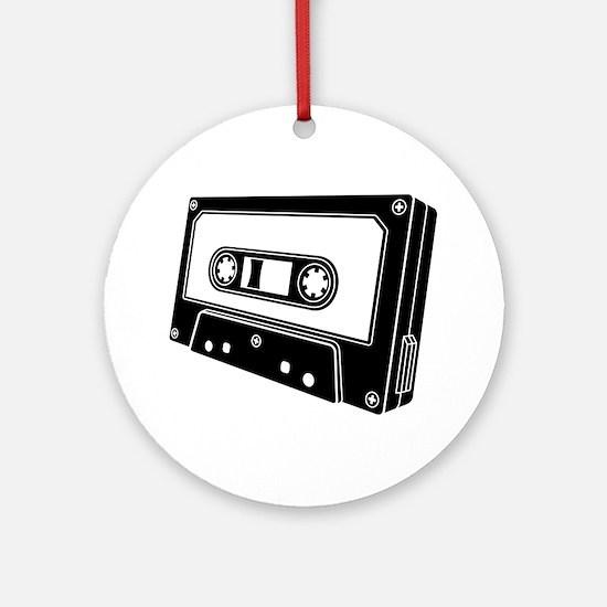 Black & White Cassette Tape Ornament (Round)