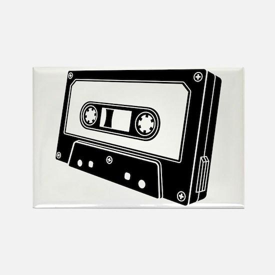 Black & White Cassette Tape Rectangle Magnet