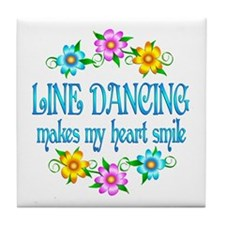 Line Dancing Smiles Tile Coaster