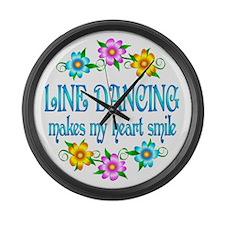 Line Dancing Smiles Large Wall Clock
