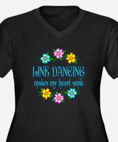 Line Dancing Smiles Women's Plus Size V-Neck Dark
