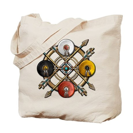 Native Medicine Wheel Mandala Tote Bag