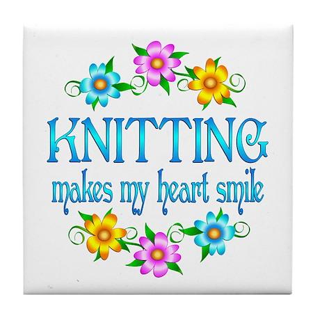 Knitting Smiles Tile Coaster