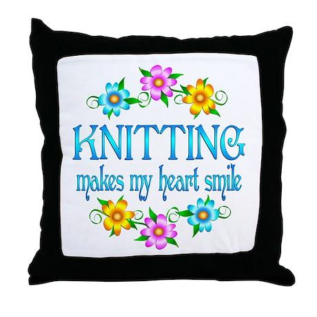 Knitting Smiles Throw Pillow