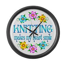 Knitting Smiles Large Wall Clock