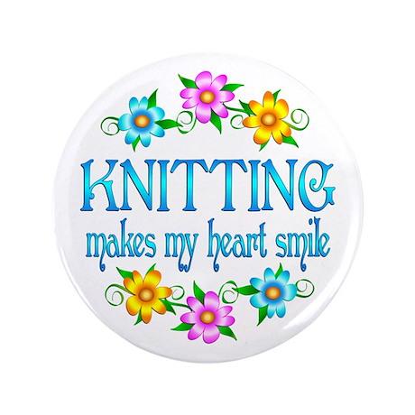 """Knitting Smiles 3.5"""" Button"""