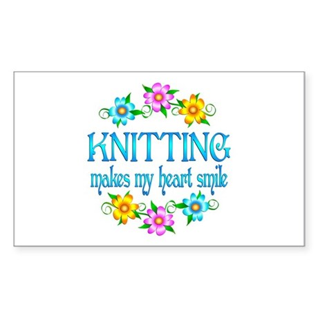 Knitting Smiles Sticker (Rectangle)