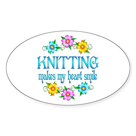 Knitting Smiles Sticker (Oval)