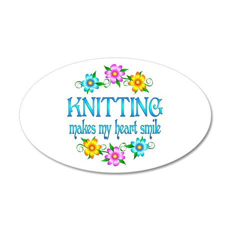 Knitting Smiles 22x14 Oval Wall Peel