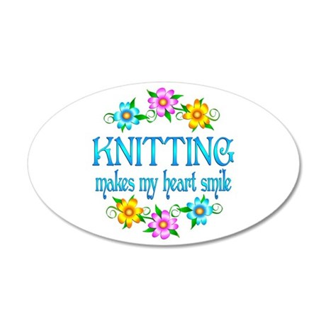 Knitting Smiles 38.5 x 24.5 Oval Wall Peel