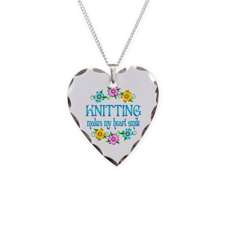 Knitting Smiles Necklace Heart Charm