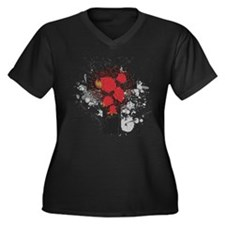 ROSE CROSS Women's Plus Size V-Neck Dark T-Shirt