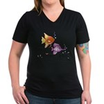 Tropical Fishes Women's V-Neck Dark T-Shirt