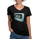 Blue Cassette Tape Women's V-Neck Dark T-Shirt
