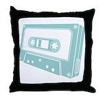 Blue Cassette Tape Throw Pillow