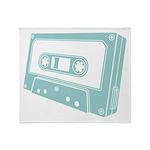 Blue Cassette Tape Throw Blanket