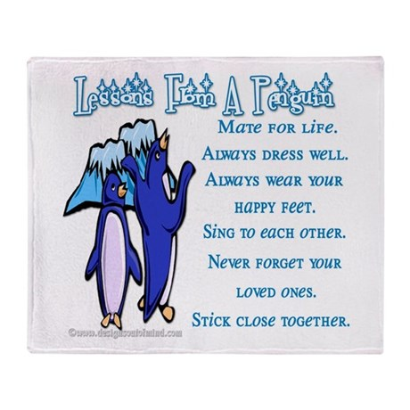 Lessons from a penguin Throw Blanket