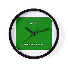 """""""Got Green Card?"""" Wall Clock"""