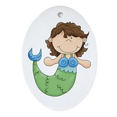 Pretty Little Mermaid Ornament (Oval)