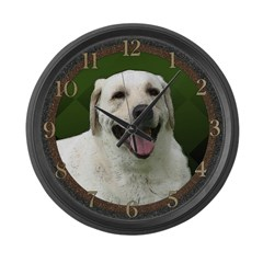 White Labrador 2 Large Wall Clock