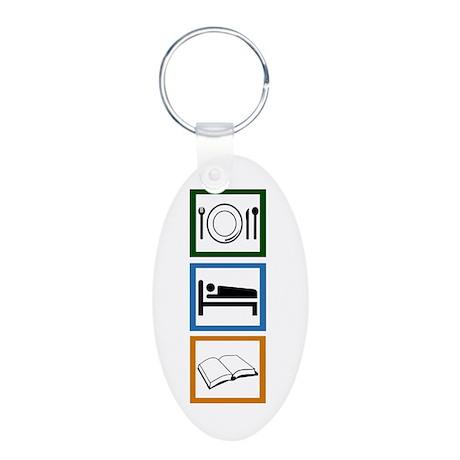 Eat Sleep Read Aluminum Oval Keychain
