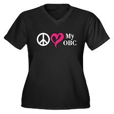 Peace, Love & My OBC Women's Plus Size V-Neck Dark