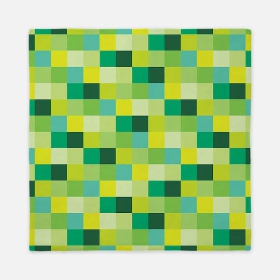 Green Pixelated Pattern | Gamer Queen Duvet