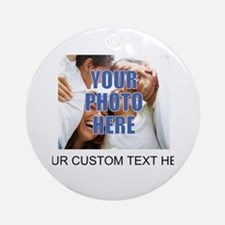 Custom Photo and Text Ornament (Round)