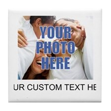 Custom Photo and Text Tile Coaster