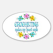 Crocheting Smiles Sticker (Oval)