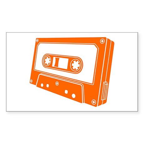 Orange Cassette Tape Sticker (Rectangle)