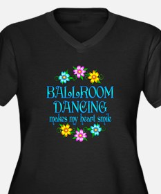 Ballroom Smiles Women's Plus Size V-Neck Dark T-Sh
