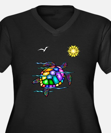 Sea Turtle #1 Women's Plus Size V-Neck Dark T-Shir