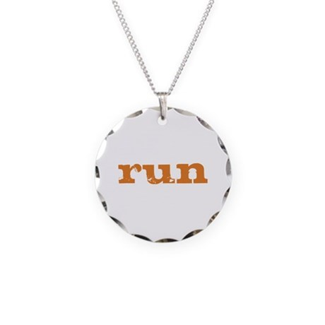 run - burnt orange Necklace Circle Charm
